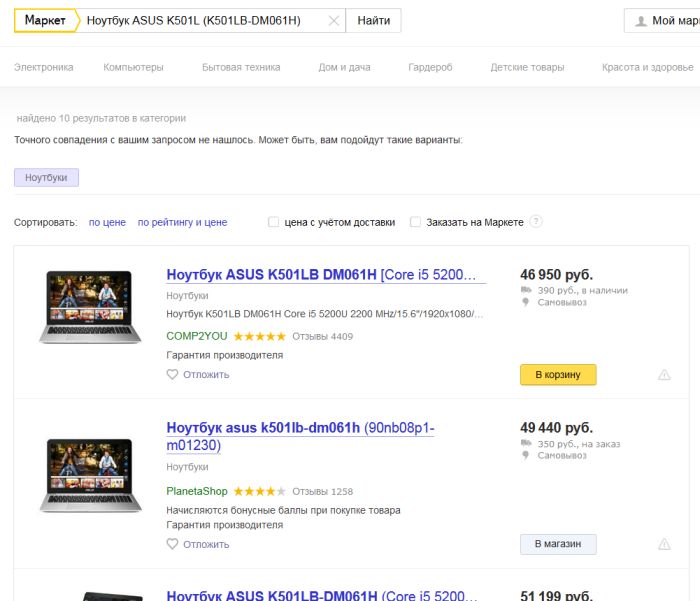 Результаты поиска на Яндекс Маркете
